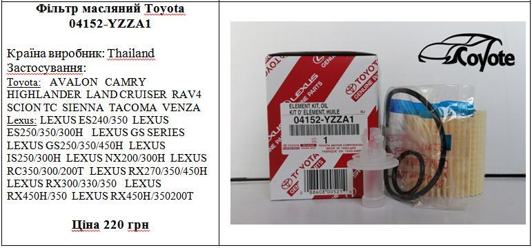 Фільтр масляний Toyota 04152-YZZA1
