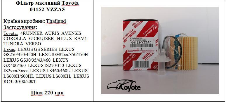 Фільтр масляний Toyota 04152-YZZA5
