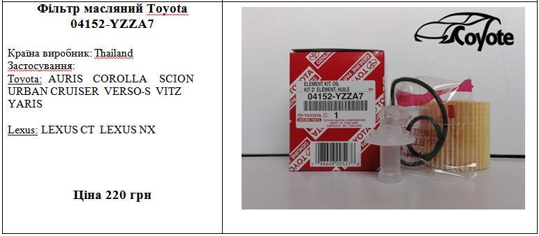 Фільтр масляний Toyota 04152-YZZA7