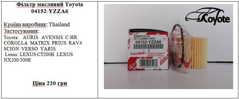 Фільтр масляний Toyota 04152-YZZA6