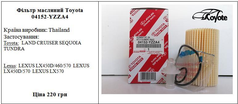 Фільтр масляний Toyota 04152-YZZA4