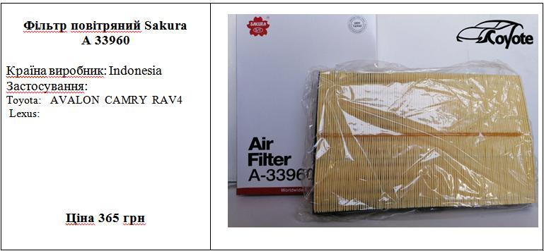 Фільтр повітряний Sakura A 33960