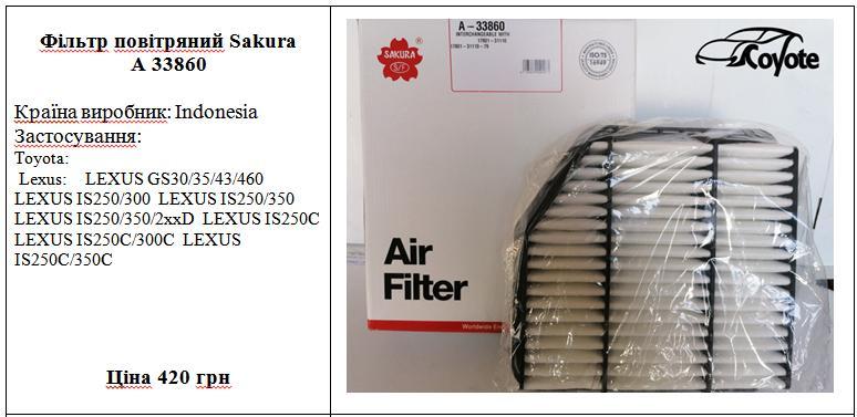 Фільтр повітряний Sakura A 33860