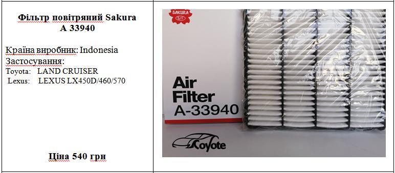 Фільтр повітряний Sakura A 33940
