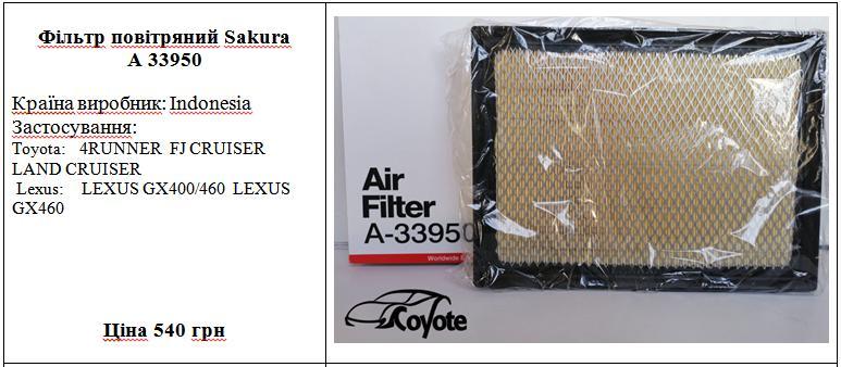 Фільтр повітряний Sakura A 33950
